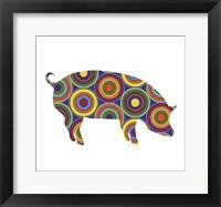 Framed Pig Abstract Circles