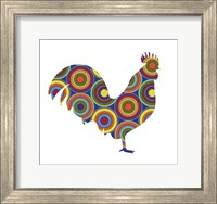 Framed Rooster Abstract Circles