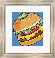 Framed Cheeseburger On Blue