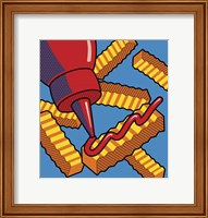 Framed Fries With Ketchup On Blue
