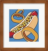 Framed Hot Dog Onion Rings On Blue
