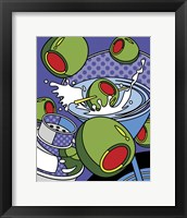 Framed Martini Flying Olives