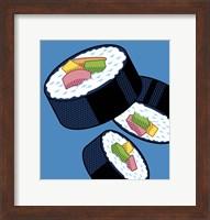 Framed Sushi Rolls On Blue