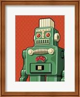Framed Vintage Green Robot