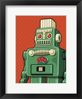 Framed Vintage Green Robot