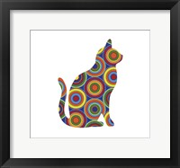 Framed Cat Sitting Abstract Circles