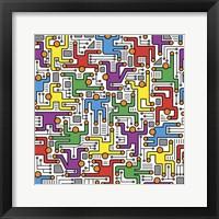 Framed Social Network Circuit Board Pattern
