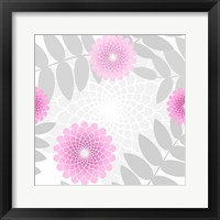Framed Flowers And Leaves Pattern Pink