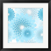 Framed Spiral Flowers Pattern Baby Blue