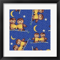 Framed Cute Baby Owls Starry Night Pattern