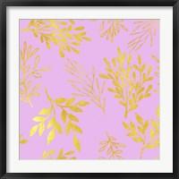 Framed Golden Leaves on Pink Pattern
