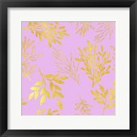Framed Golden Leaves on Pink Pattern