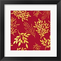 Framed Golden Leaves on Venetian Red