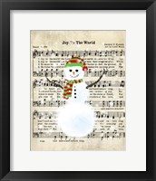 Framed Snowman Conducts Joy To The World