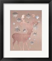 Framed Park Avenue Rosegold Deer in the Silver Snow