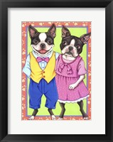 Framed Boston Terrier Couple