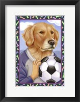 Framed Golden Retriever Soccer Ball