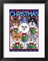 Framed Xmas Cat Chorus