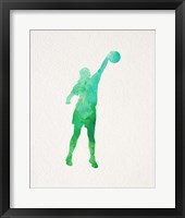 Basketball Girl Watercolor Silhouette Part I Framed Print