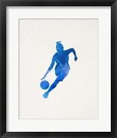 Basketball Girl Watercolor Silhouette Part II Framed Print