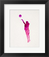 Framed Basketball Girl Watercolor Silhouette Part IV
