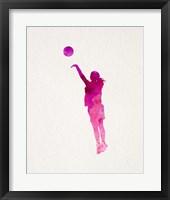 Basketball Girl Watercolor Silhouette Part IV Framed Print