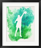 Basketball Girl Watercolor Silhouette Inverted Part I Framed Print