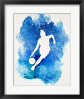 Framed Basketball Girl Watercolor Silhouette Inverted Part II