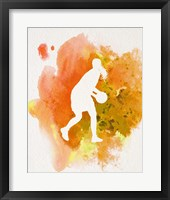Basketball Girl Watercolor Silhouette Inverted Part III Framed Print