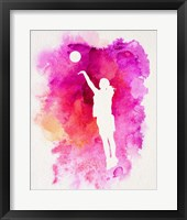 Basketball Girl Watercolor Silhouette Inverted Part IV Framed Print
