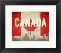 Framed Ottawa, Canada - Flags and Skyline