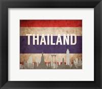 Framed Bangkok, Thailand - Flags and Skyline