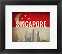 Framed Singapore - Flags and Skyline