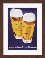 Framed Female Male Beer