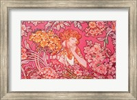 Framed Mucha Woman Among Flowers Arch Vers