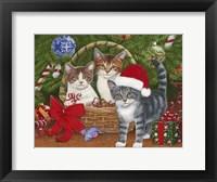 Framed Christmas Kittens in a Basket