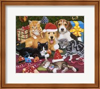 Framed Christmas Meeting - Kittens and Puppies