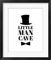 Framed Little Man Cave Top Hat and Bow Tie - White