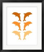 Framed Leaping Dolphins - Orange