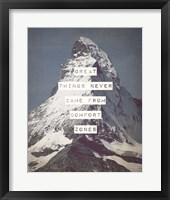 Framed Great Things Never Came From Comfort Zones Strength - Mountain