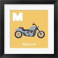 Framed Transportation Alphabet - M is for Motorcycle