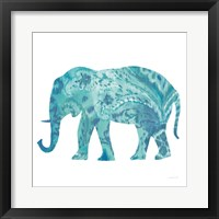 Framed Boho Teal Elephant II