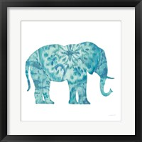 Framed Boho Teal Elephant I