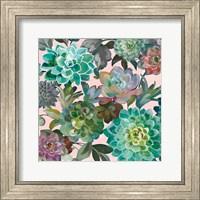 Framed Floral Succulents v2 Crop on Pink