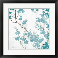 Framed Teal Cherry Blossoms II on Cream Aged no Bird