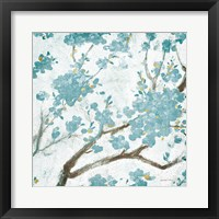 Framed Teal Cherry Blossoms I on Cream Aged no Bird