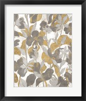 Framed Painted Tropical Screen II Gray Gold