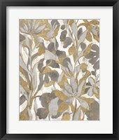 Framed Painted Tropical Screen I Gray Gold