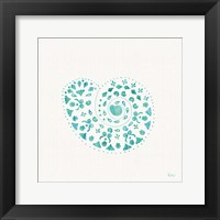 Framed Sea Charms IV Teal no Words