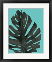 Framed Tropical Palm I BW Turquoise
